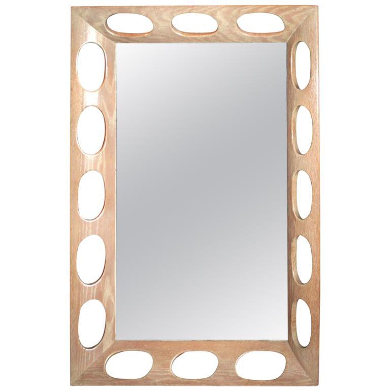 Limed Oak Framed Mirror For Sale