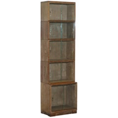 Limed Oak Modular Minty Oxford Antique Stacking Legal Bookcase, circa 1930s