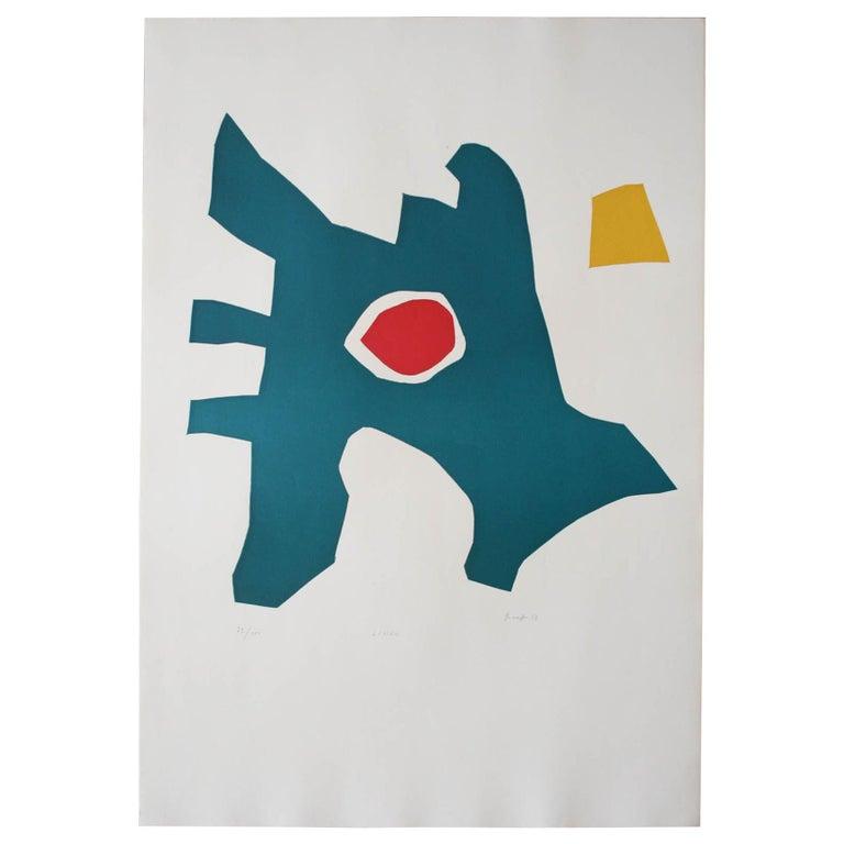 """LIMEK"" Original Bauhaus Artist Linocut Print, Signed Werner Graeff  For Sale"