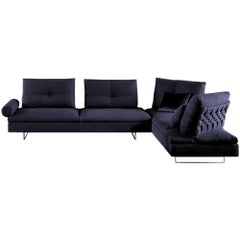 In stock in Los Angeles, Limes Navy Blue Velvet Corner Sofa, Made in Italy