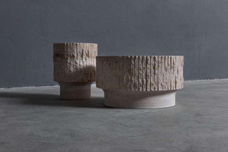 Limestone and Brass Sculpted Coffee Table by Frederic Saulou For Sale 1
