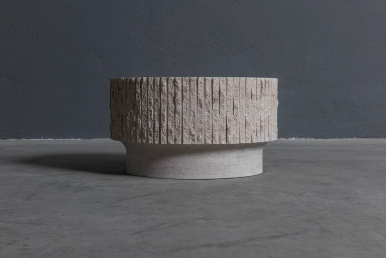 Limestone and Brass Sculpted Coffee Table by Frederic Saulou For Sale 3