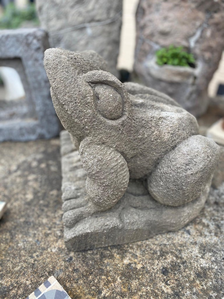 Hand-Carved Limestone Frog Statue, Large For Sale