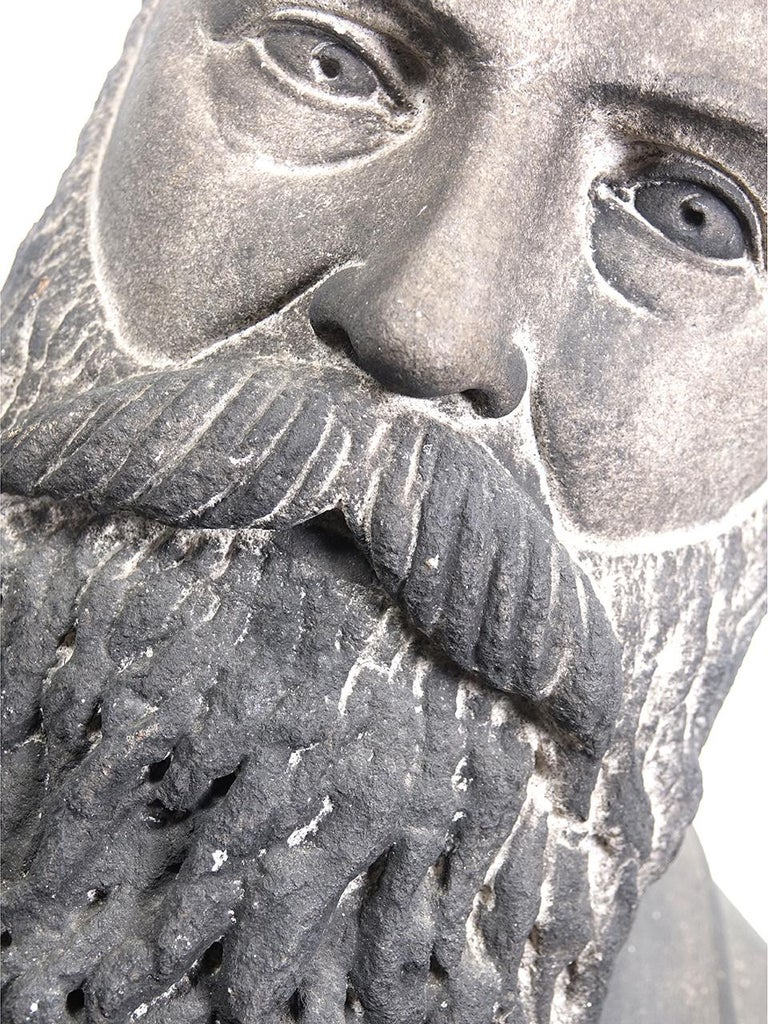 We Love the look of these all to serious stone portraits. Just look at the carving in that beard. This one is in beautiful condition and has a nice weathered patina. Its one of a kind and hand carved.
