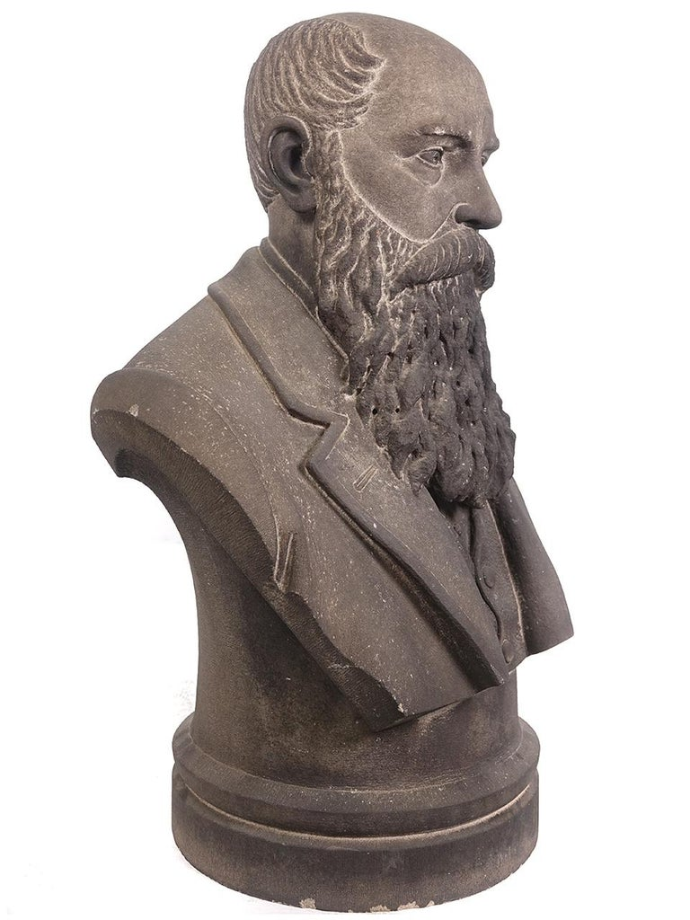 American Classical Limestone Life-Size Banker Bust For Sale