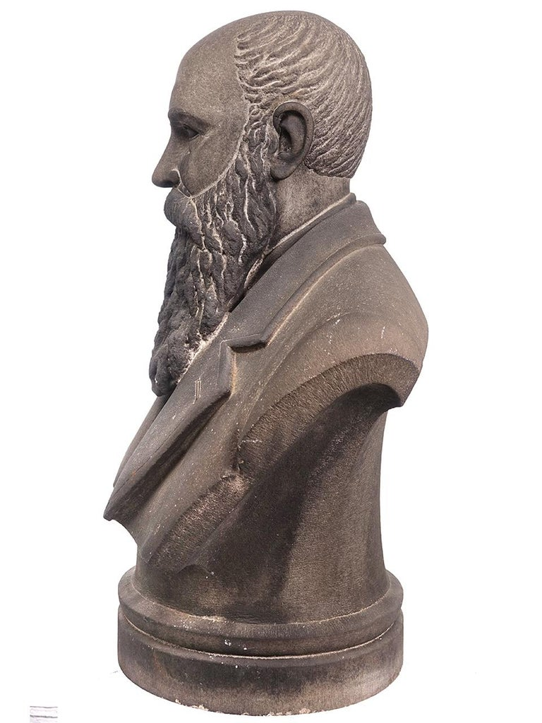 American Limestone Life-Size Banker Bust For Sale