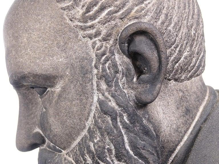 Carved Limestone Life-Size Banker Bust For Sale