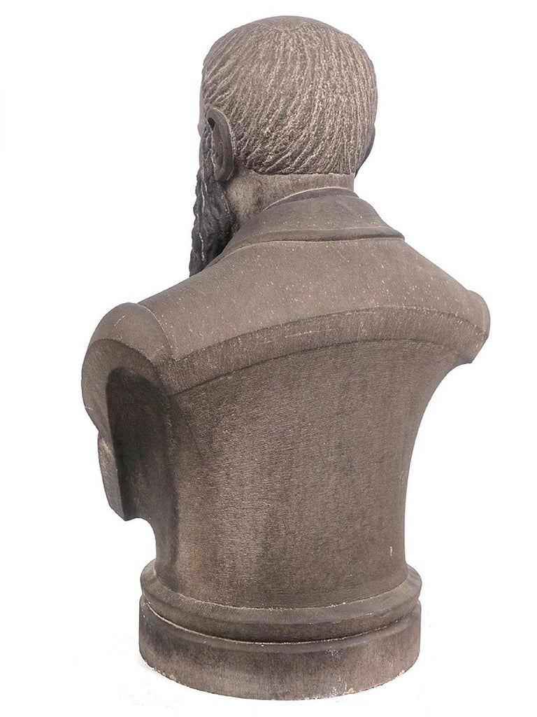 Limestone Life-Size Banker Bust In Good Condition For Sale In Peekskill, NY