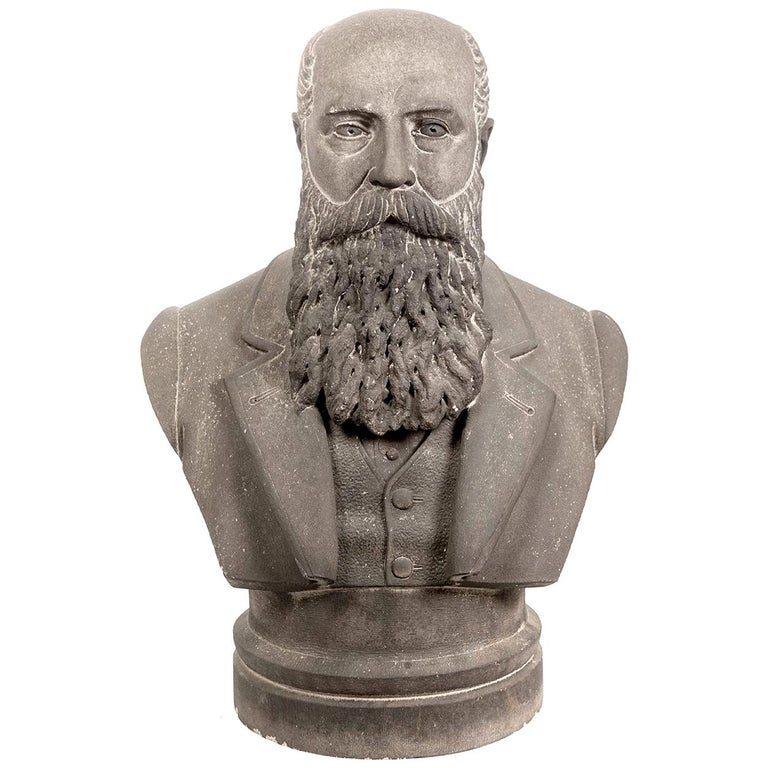 Limestone Life-Size Banker Bust For Sale