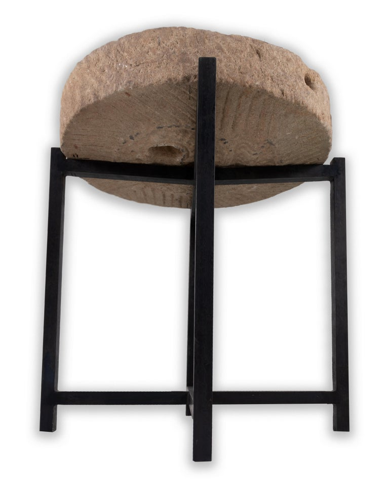 Rustic Limestone Mill Wheel on Stand For Sale