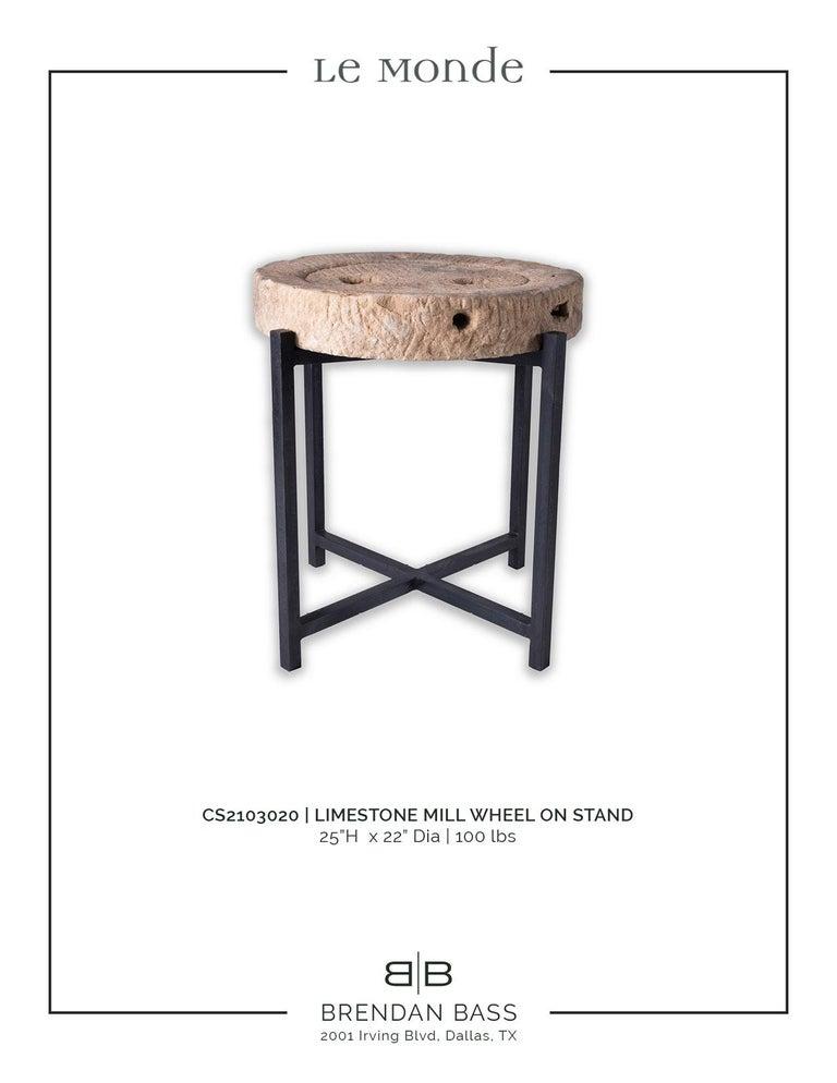 Steel Limestone Mill Wheel on Stand For Sale