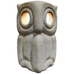 Limestone Owl Lamp by Albert Tormos, 1970s