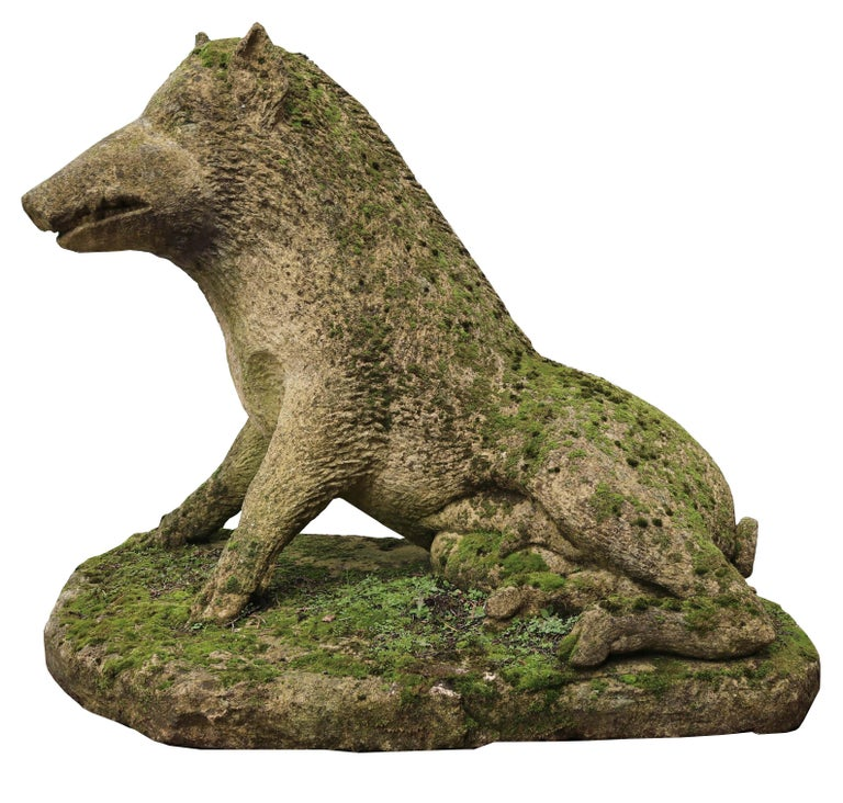 About  After the antique, a finely modelled and weathered limestone garden ornament.  This classical sculpture is generally thought to be based on the story of the slaying of the Calydonian boar by Meleager. The boar had been sent by Diana to
