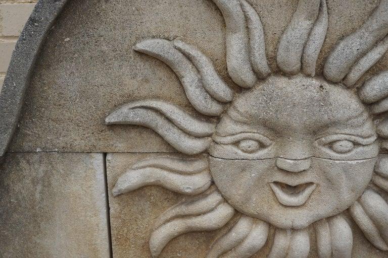 French Limestone Sun Wall Fountain For Sale