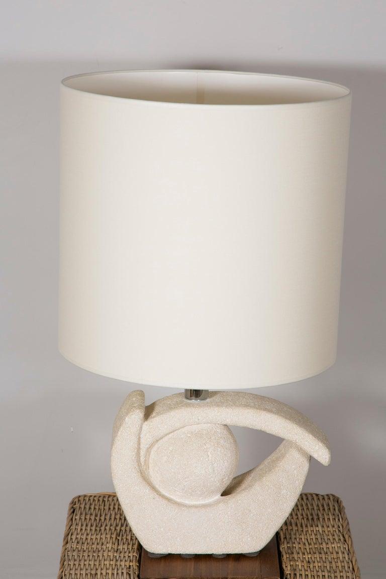 Brutalist Limestone Table Lamp by Albert Tormos For Sale