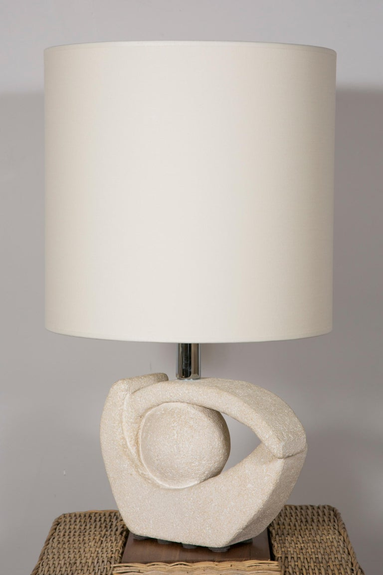 French Limestone Table Lamp by Albert Tormos For Sale