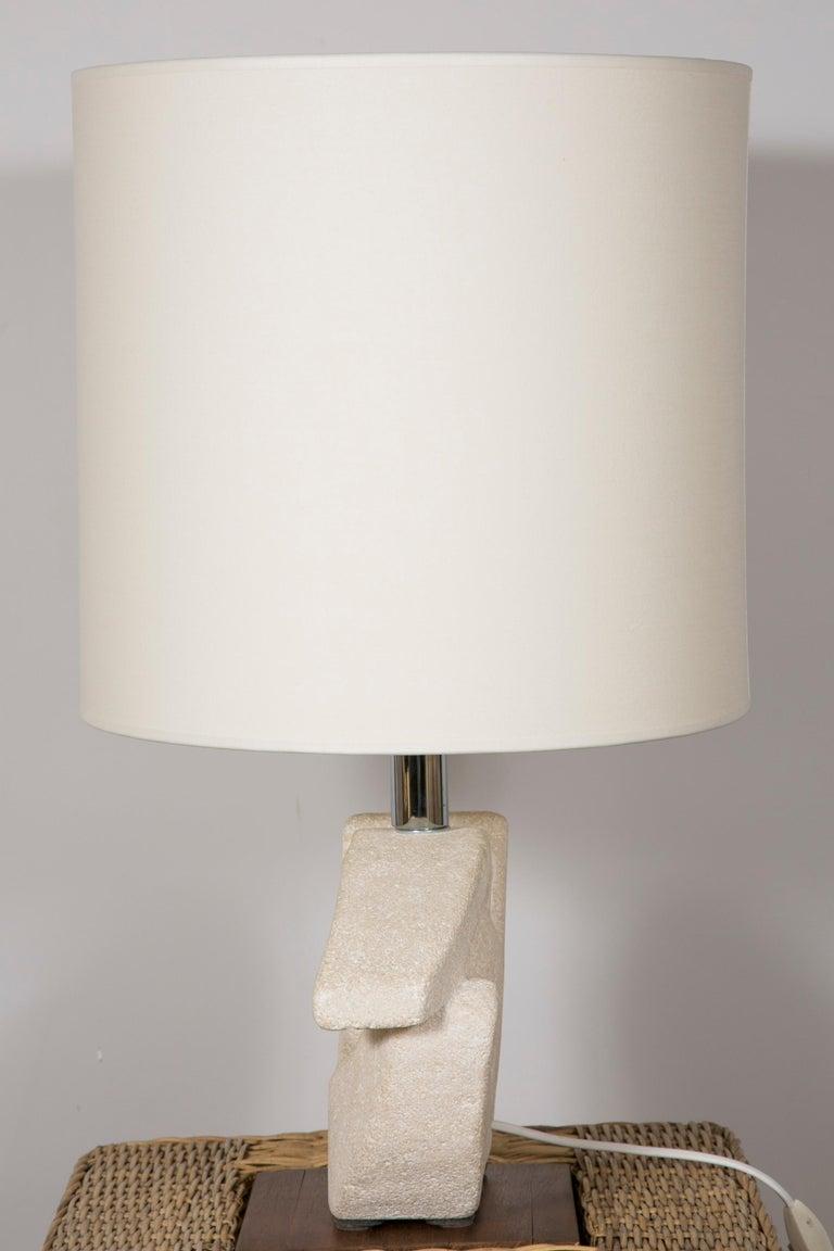 Limestone Table Lamp by Albert Tormos In Excellent Condition For Sale In Paris, Ile-de-France