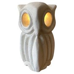 "Limestone Table Lamp ""Owl"" by Albert Tormos, France, 1970s"