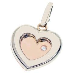 Limited 300 Cartier Diamond 18 Karat Pink Gold White Gold Double Heart Charm