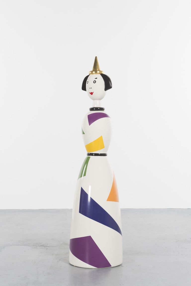 Rare Ceramic Named Anna Harlequin by Alessandro Mendini, 1999, Italy  Polychrome enameled ceramic sculpture designed in 1999 by Alessandro Mendini as a tribute to his wife and edited by Alessi in a limited edition of 99 pieces. This item is number