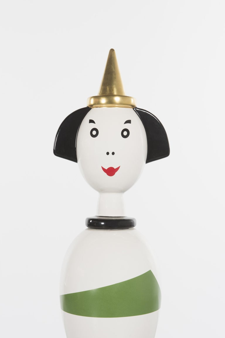 Enameled Limited and Rare Ceramic Named Anna Harlequin by Alessandro Mendini For Alessi For Sale