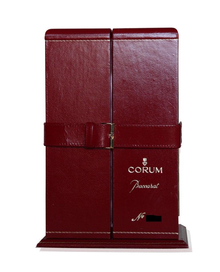 Limited Baccarat x Corum Golden Bridge Crystal Skeletonized Timepiece Clock For Sale 2
