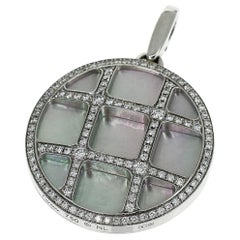 Limited Cartier Diamond 18 Karat White Gold Shell Pasha Grid Pendant Top Charm