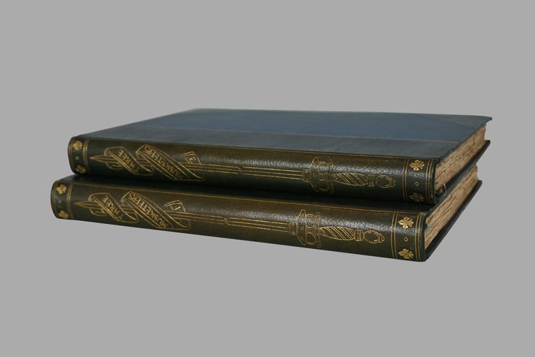 A rare and attractive 2 volume oversized deluxe edition of Alexander Dumas' famous work, The Three Musketeers, limited to 750 copies of which this example is number 615. Bound in 3/4 blue leather with decorated end papers, published in London in