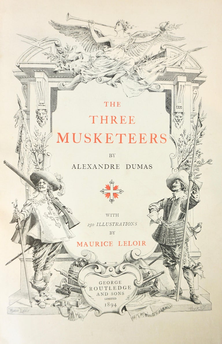 19th Century Limited Deluxe Edition of Dumas' Three Musketeers in 2 Leather Bound Volumes For Sale