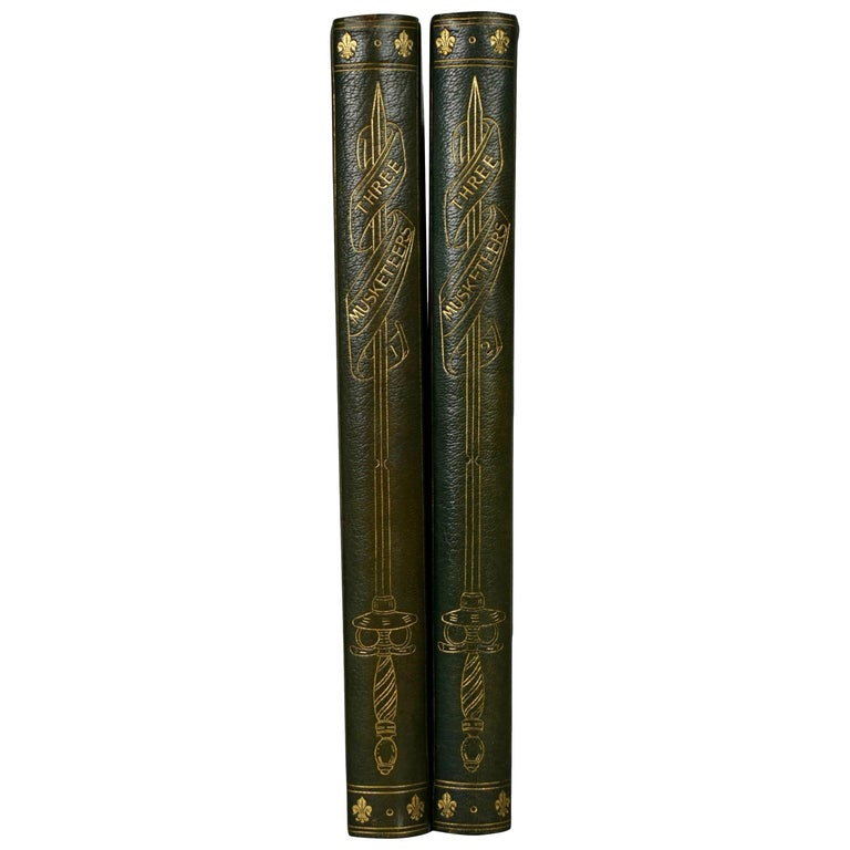 Limited Deluxe Edition of Dumas' Three Musketeers in 2 Leather Bound Volumes For Sale