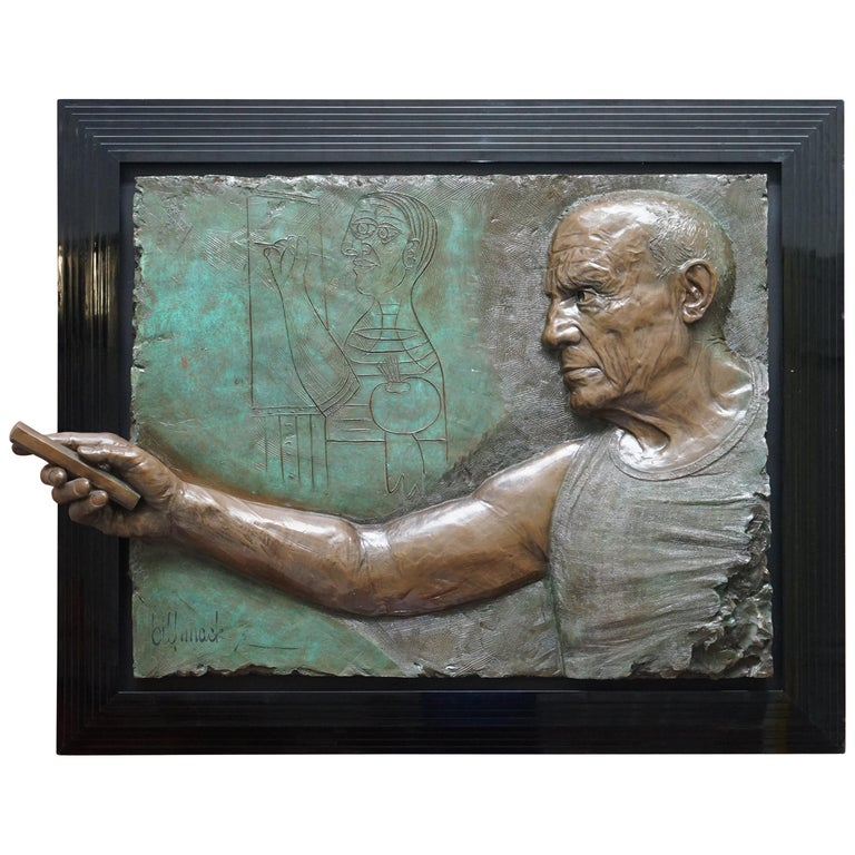 Limited Edition 3/65 Bill Mack Signed Tribute to Picasso Huge Bronze Picture For Sale