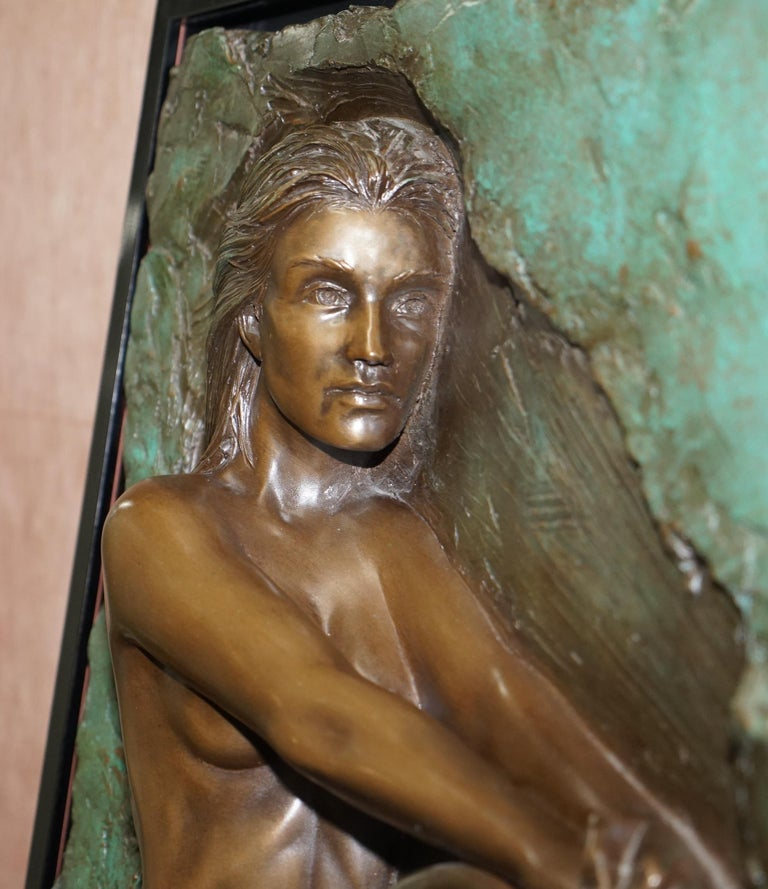 Late 20th Century Limited Edition 78/95 Bill Mack Signed Bronze Statue Picture Titled Solitude For Sale