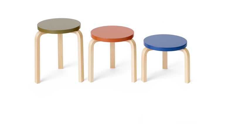 Limited Edition Alvar Aalto Low Stool 60 in Moonstone by Artek + Heath In New Condition For Sale In New York, NY