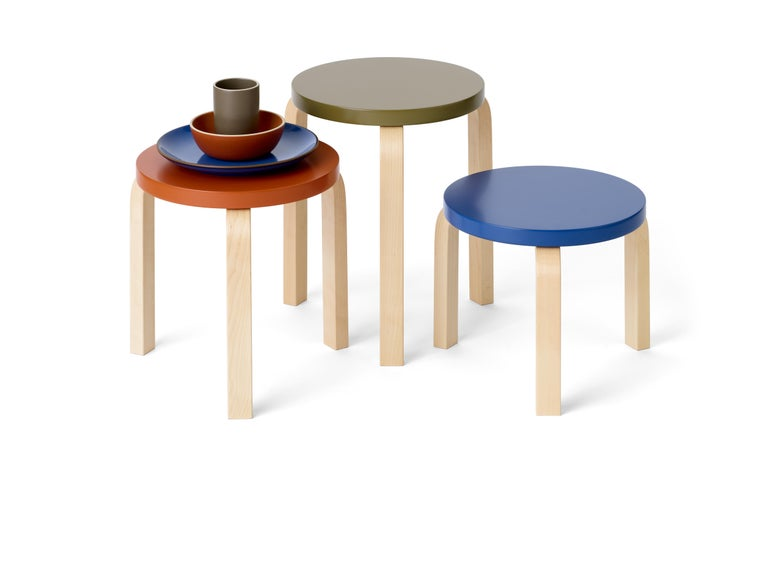 Contemporary Limited Edition Alvar Aalto Low Stool 60 in Moonstone by Artek + Heath For Sale