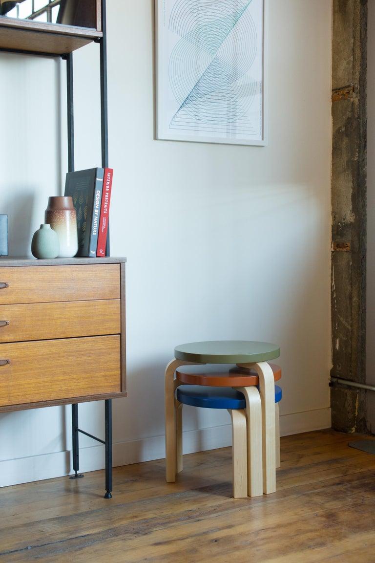 Limited Edition Alvar Aalto Low Stool 60 in Moonstone by Artek + Heath For Sale 1