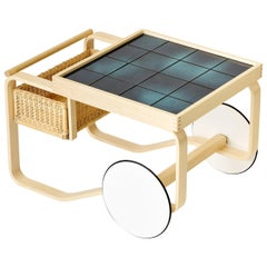 Limited Edition Alvar Aalto Tea Trolley 900 in Deep Sea by Artek + Heath