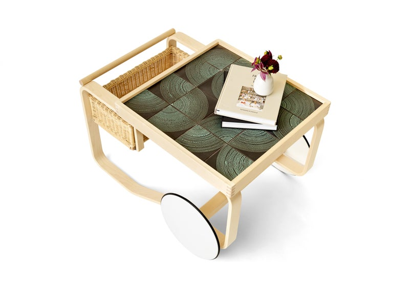 Modern Limited Edition Alvar Aalto Tea Trolley 900 in Maze by Artek and Heath For Sale