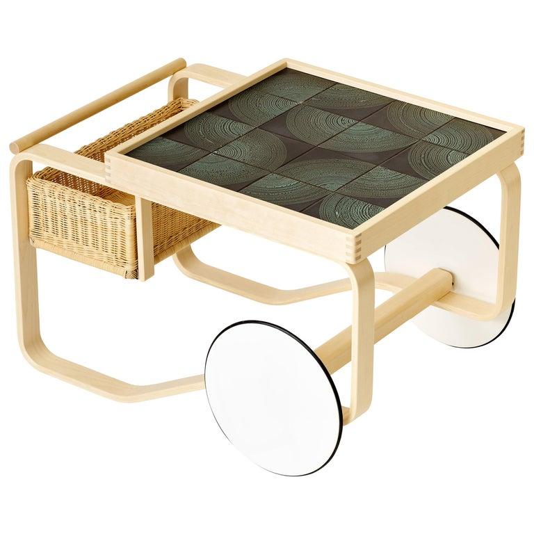 Limited Edition Alvar Aalto Tea Trolley 900 in Maze by Artek and Heath For Sale