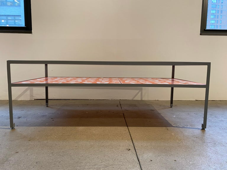 Mid-Century Modern Limited Edition Angle Steel Coffee Table with Dylan Egon Screen Printed Slats For Sale