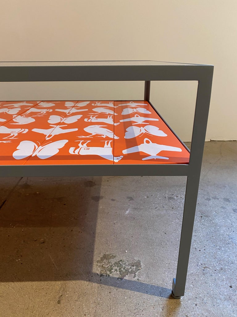 American Limited Edition Angle Steel Coffee Table with Dylan Egon Screen Printed Slats For Sale
