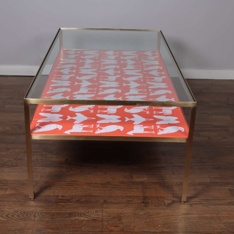Contemporary Limited Edition Angle Steel Coffee Table with Dylan Egon Screen Printed Slats For Sale