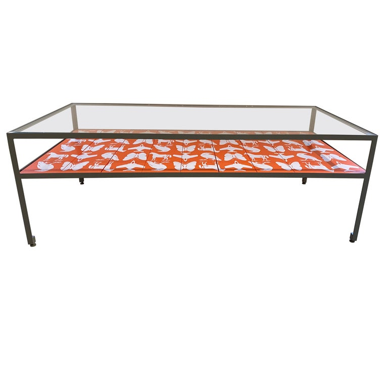 Limited Edition Angle Steel Coffee Table with Dylan Egon Screen Printed Slats For Sale