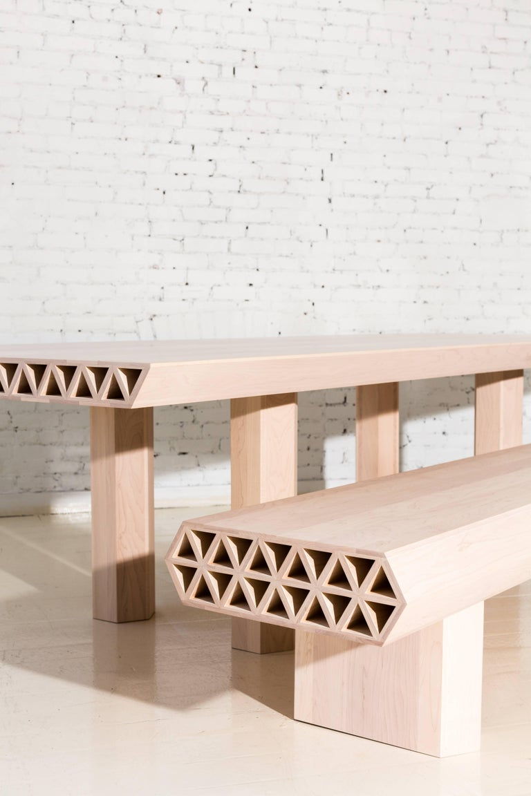 Contemporary Limited Edition Assemblage Wood Bench in Maple by Fort Standard For Sale