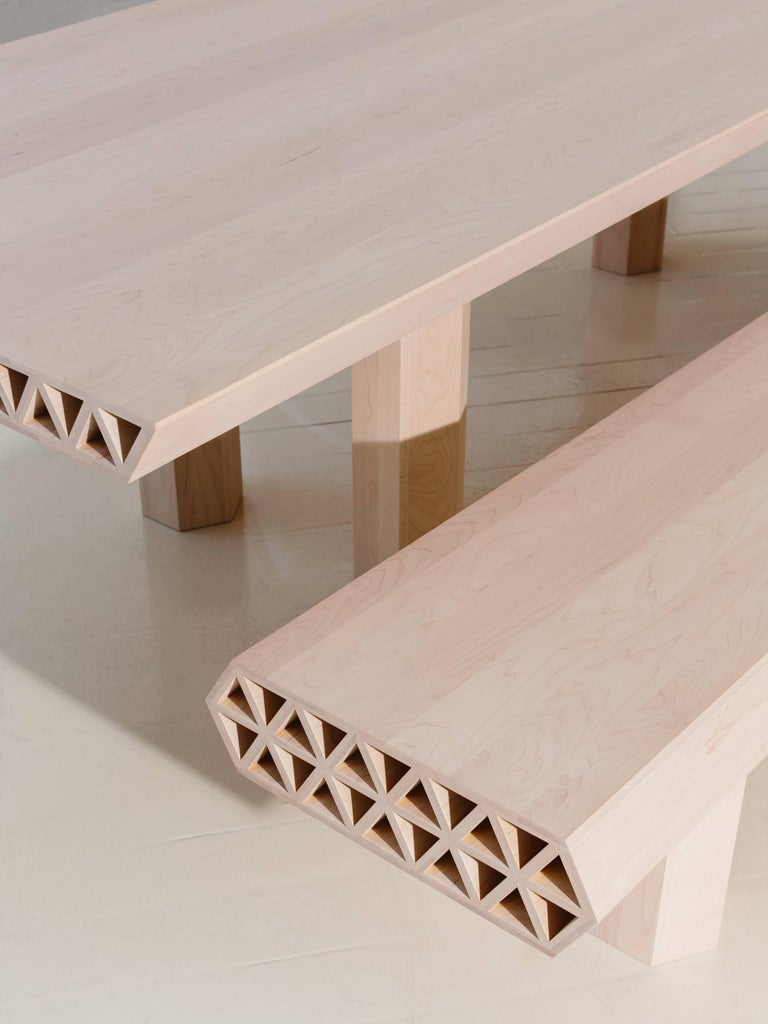 Limited Edition Assemblage Wood Bench in Maple by Fort Standard For Sale 2