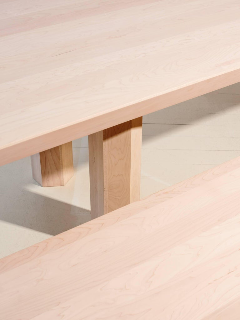 Limited Edition Assemblage Wood Bench in Maple by Fort Standard For Sale 3