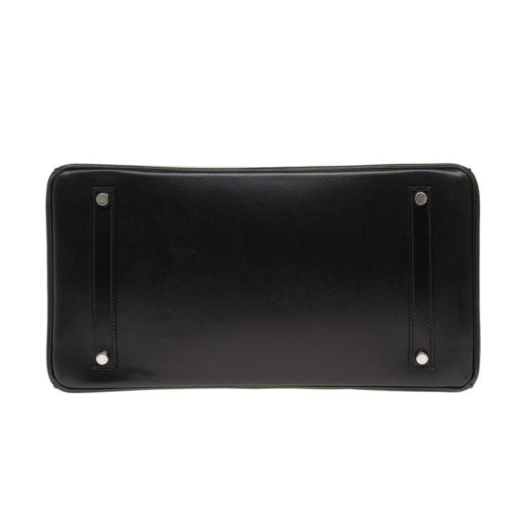 Limited Edition Black Calf Box Leather Birkin 35, Guilloché Palladium Hardware For Sale 7