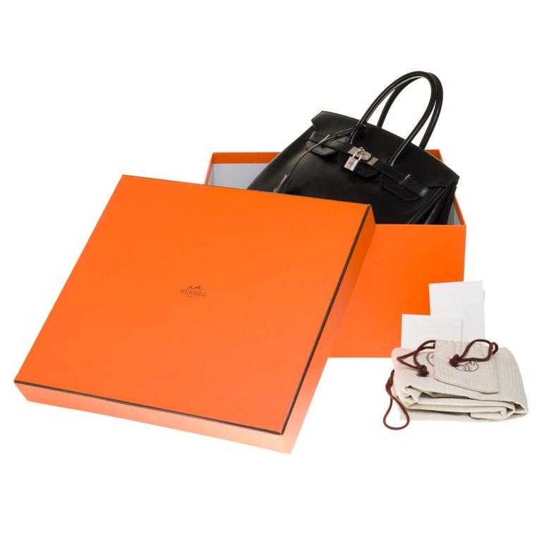 Limited Edition Black Calf Box Leather Birkin 35, Guilloché Palladium Hardware For Sale 9