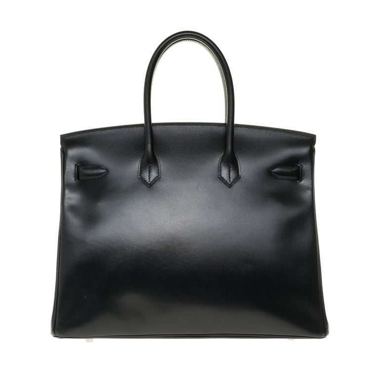 COLLECTIBLE PIECE / VERY COVETED LIMITED EDITION BLACK CALF BOX LEATHER BIRKIN 35, GUILLOCHÉ PALLADIUM HARDWARE  We love this stunning and limited edition Hermès Birkin 35 Guilloche Black. This bag is crafted with box leather and palladium hardware