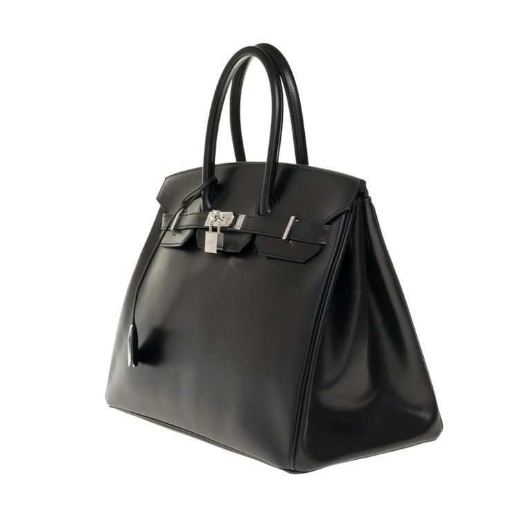 Limited Edition Black Calf Box Leather Birkin 35, Guilloché Palladium Hardware In Good Condition For Sale In Paris, Paris