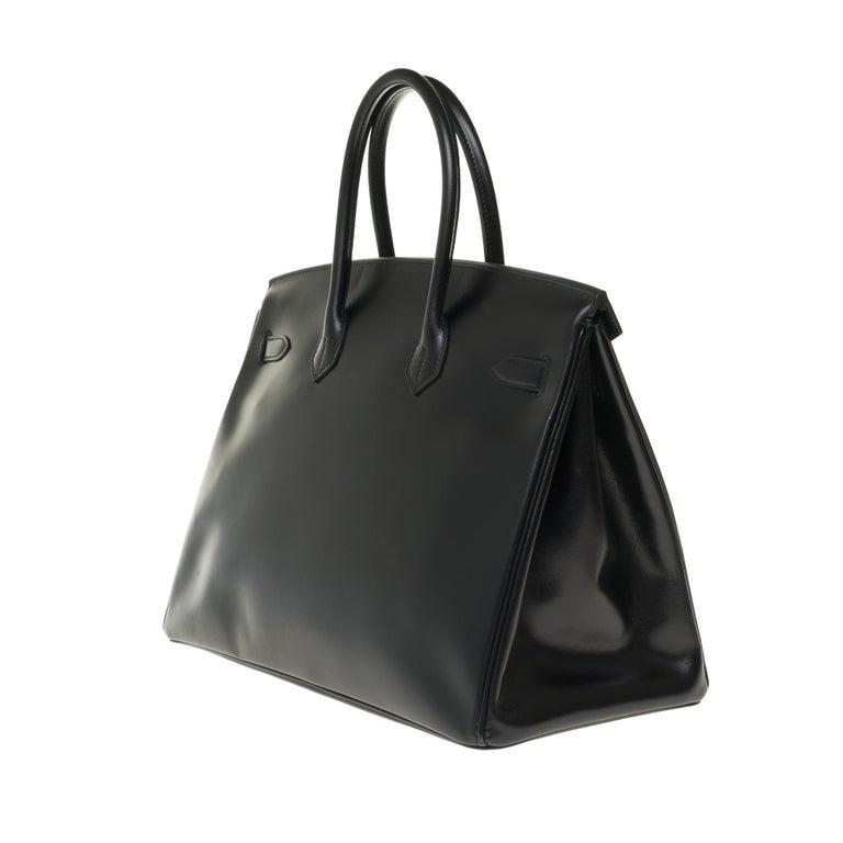 Women's or Men's Limited Edition Black Calf Box Leather Birkin 35, Guilloché Palladium Hardware For Sale